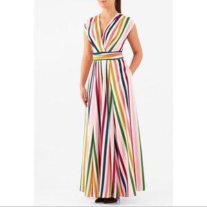EShakti Bold Stripe Surplus Maxi Dress